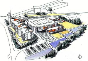 16 Hovinbekkdam og ny skole. Teglverkstomta Mulighetsstudie  (Undervisningsbygg)